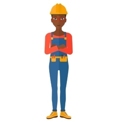 Friendly builder with arms crossed vector