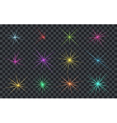 Set of abstract lighting shining flares or stars vector
