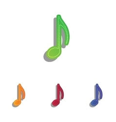 Music note sign colorfull applique icons set vector