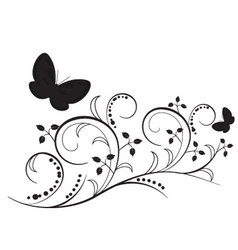 Butterflies with flourishes vector