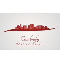 Cambridge skyline in red vector image vector image