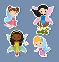 Collection of beautiful fairy stickers collection vector
