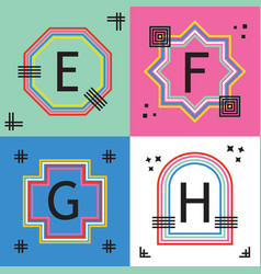 Colorful capital letters e f g and h line emblems vector