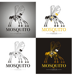 Cybernetic robot mosquito drone logo icon set vector