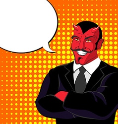 devil pop art Red horned demonl and text bubble vector image vector image