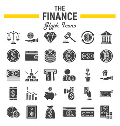 Finance glyph icon set business signs collection vector