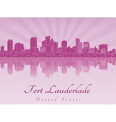 Fort Lauderlade skyline in purple radiant orchid vector image