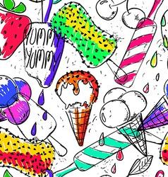 Funny seamless pattern of cartoon ice cream vector