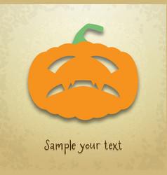 Halloween card with gloomy pumpkin vector