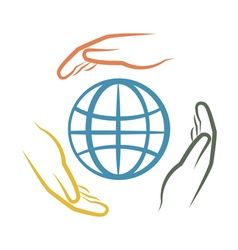 hands and earth vector image
