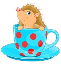 Hedgehog in the tea cup vector