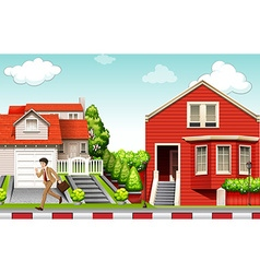 Man running from house vector