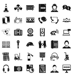 Microphone icons set simple style vector
