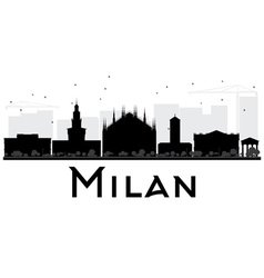 Milan city skyline black and white silhouette vector