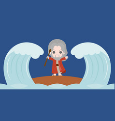 Moses dividing the red sea in two parts vector