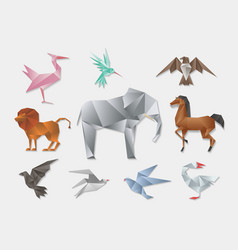 Origami animals 3d paper japanese animal set vector image