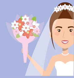 Portrait bride with flowers with wedding dress vector