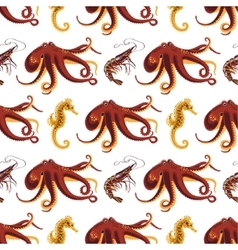 Seamless pattern on a animals oceans and seas vector image