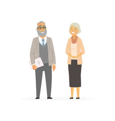 senior business couple - flat composition vector image