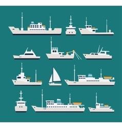 Ships flat set vector image vector image