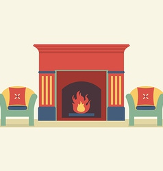 Sofas And Fireplace Living Room Interior vector image
