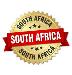South africa round golden badge with red ribbon vector