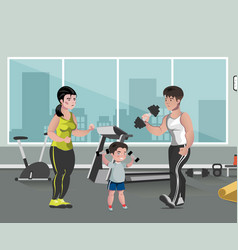sports family flat template in gym vector image