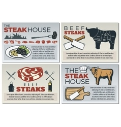 Steak Poster Design Set vector image