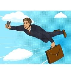 Super hero businessman flying sky pop art vector image vector image