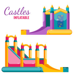 two colorful castles inflatable isolated on white vector image