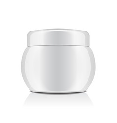 white plastic jar with cap for cosmetics closed vector image
