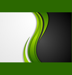 Abstract green black grey wavy background vector