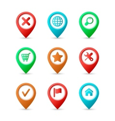 Map pins with icons vector image