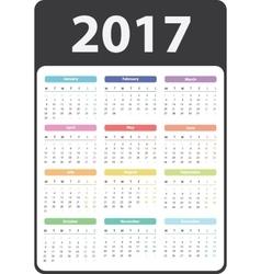 2017 year calendar vector image vector image