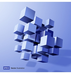 Abstract composition of blue 3d cubes vector