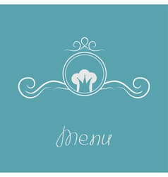 Chef hat crown and round abstract frame menu card vector