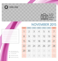 Calendar 2015 november template with place for vector