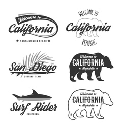 Vintage monochrome california badges vector