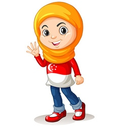Singapore girl with head cloth waving vector