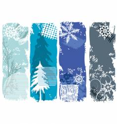 Winter grunge banners vector