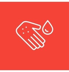 Hand with microbes line icon vector image