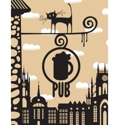 Pub and a cat vector