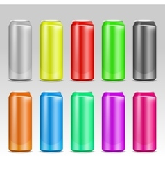 Aluminum realistic colored drink cans vector