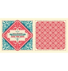 Retro wedding card by layered vector