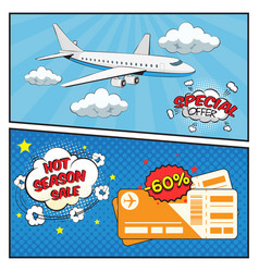 Air tickets sale comic style banners vector