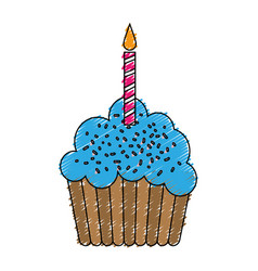Birthday cupcake icon vector