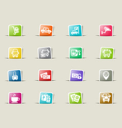 Bus station icon set vector