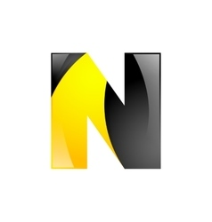 Creative yellow and black symbol letter n for your vector