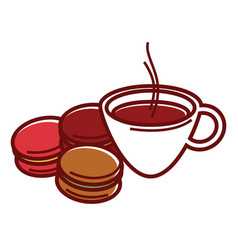 delicious sweet macaroons and cup of hot coffee vector image