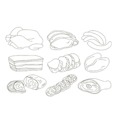 Different kinds of meat collection vector